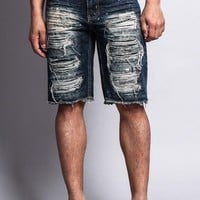 Distressed Paint Splattered Denim Shorts