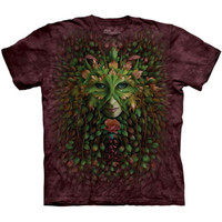 GREEN WOMAN The Mountain Celtic Fairy Face Irish T-Shirt S-3XL NEW