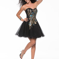 SALE! Nina Canacci 2013 Prom Dresses - Black & Gold Embroidered Sweetheart Tulle Short Prom Dress