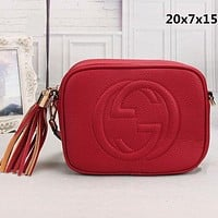 GUCCI Trending Women Leather Pure Color Tassel Shoulder Bag Crossbody Satchel Red
