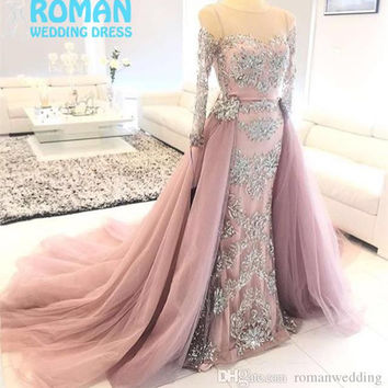 Pink Tulle Pattern Lace Appliqued Beads Illusion Neck Long Sleeves Detachable Train Luxury Two Pieces Prom Dresses 2016