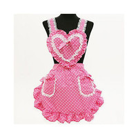 harajuku cute kawaii APRON heart lace bakery maid sexy costume cross back naked