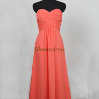 long coral chiffon prom dresses on sale unique elegant sweetheart evening dress simple cheap folded gowns for wedding party hot