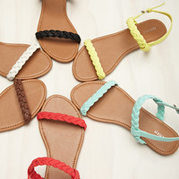 Braided Faux Leather Slingback Sandals