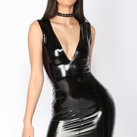 Kristen Latex Dress - Black
