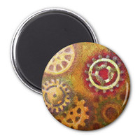 Steampunk Magnet, refridgerator magnet, steampunk gears in orange, yellow and red, art magnet in square or round design