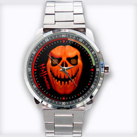 Halloween Pumpkin Ghost Custom Stainless Steel Watch