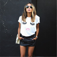 """White """"Lashes Red Lips"""" Pattern Printed T-Shirt"""