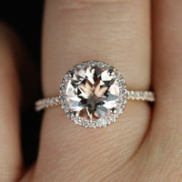 NEW Sweetheart Size Kubian Version 2013 14kt Rose Gold Thin Round Morganite Halo Engagement Ring (Other metals and stone options available)