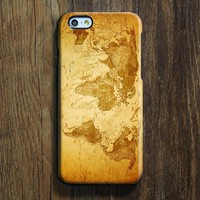 Retro Yellow World Map iPhone XR Case iPhone XS Max plus Case Ethnic iPhone 8 SE  Case Galaxy S8 S6  Note 3 Case 086