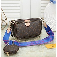 Louis Vuitton Fashion Leather Chain Crossbody Satchel Set Three Piece Bag