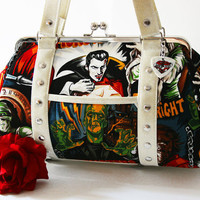 Monster Handbag with Your Choice of Vinyl, Halloween Psychobilly Horror Purse - MADE TO ORDER