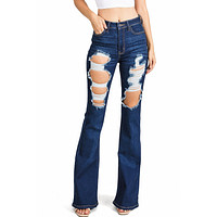 Kira Distressed Flare Jeans