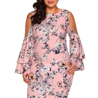 Pink Cold Shoulder Bell Sleeve Plus Size Floral Print Dress