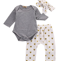 3pcs!2016 New Autumn baby boy clothes set cotton T-shirt+pants+Headband 3pcs Infant clothes newborn baby clothing set