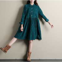 Winter Dresses Green Color Long Sleeve Casual Loose Plus Size Dresses Turn Down Collar Corduroy Cotton Dress A Line Lolita Dress