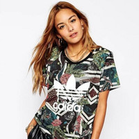 """Adidas"" Fashion Jungle Pattern Movement Leisure Round Neck Short Sleeve T-shirt"