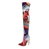 GRACE Women's Graphic Print Knee High Boots