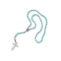 Catholic Rosary, amazonite rosary, Silver Plated Cross and God mother, Silk cord Rosary, in Handmade