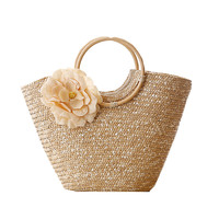 Round Wood Handle Shopper Bag Summer Straw Beach Bags Flower Design Shoulder Market Women Handbags travel Causal Tote Basket 236
