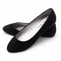 Women Lady Round Toe Ballerina Dolly Slip-on Slipper Flat Shoes