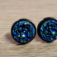 Druzy earrings- Ocean blue drusy Black stud druzy earrings
