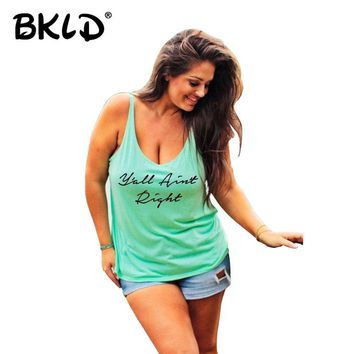 BKLD 5XL Plus Size Women Tank Tops  Summer Letter Printed Sleeveless Casual Cotton Women Clothing Femininas Tops
