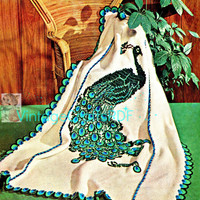 THE PEACOCK Afghan Instant Download PDF from 1960s Vintage Crochet Pattern uses basic afghan stitch then embroidered - bird fowl fiber art
