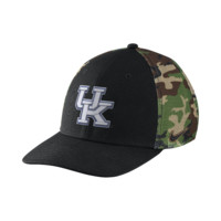 Nike Camo Hook True Swoosh Flex (Kentucky) Fitted Hat Size FLX