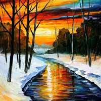 """Winter - PALETTE KNIFE2 Oil Painting On Canvas By Leonid Afremov - Size 30"""" x 30"""" from afremov art"""