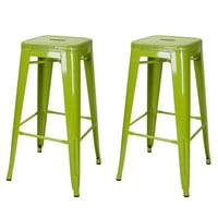 Green 30-inch Metal Counter Bar Stools (Set of 2)