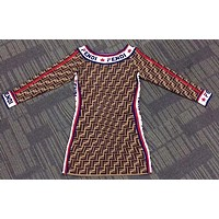 "Hot Sale ""FENDI' Popular Women Stylish FF Print Knit Long Sleeve Off Shoulder Dress"