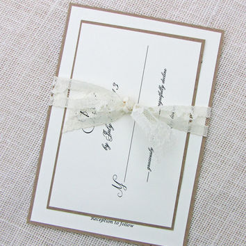 Lace and Kraft Rustic  Wedding Invitation