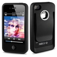 Reiko Durable Belt Clip-Style Holster Case for iPhone 4/4S - Retail Packaging - Black