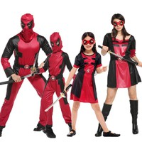 Umorden Purim Halloween Costumes for Family Matching Masked Knight Hero Deadpool Costume Cosplay Jumpsuit for Men Women Kids