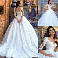 Ball Gown Wedding Dresses with 3D Flowers Beading Illusion Tulle