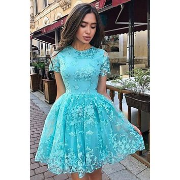 Lace Homecoming Dress with Sleeves, Short Prom Dress ,Back To School Party Dress, Evening Dress, Formal Dress, DTH0051