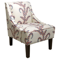 Fletcher Swoop-Arm Chair, Red/Blue, Accent & Occasional Chairs