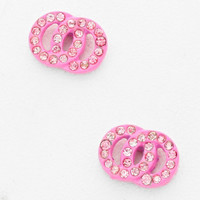 Double Circle Stud Crystal Earrings Light Pink