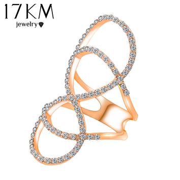 17KM Fashion Silver Color Infinity Crystal Rings For Women Wedding Jewelry Zircon Ring Christmas Gift anillo