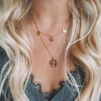 Boho Double Layers Women Round Sequins Hollow Earth Pendant Necklace Jewelry