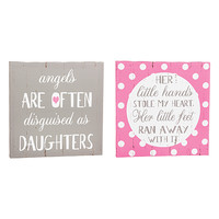 'Daughters' & 'Little Hands' Wrapped Canvas - Set of Two