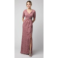 Mauve Lace Long Formal Dress with Brooch and Drapes