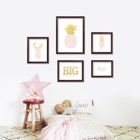Pink Pineapple Girls Baby Girl Room Decor Picture Wall Art Canvas Painting Cuadros Nordic Style Kids Decoration Print Unframed