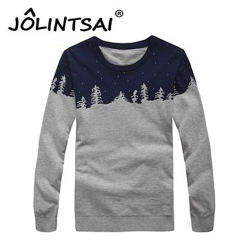 2017 New Winter Tide Brand Casual Christmas Sweater Men O-Neck Pullover Slim Fit Knitted Mens Sweaters with Christmas Tree