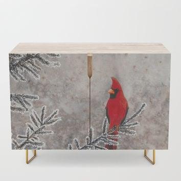 The Red Cardinal in winter Credenza by savousepate