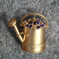 Vintage Figural  Gold Tone Watering Can Brooch