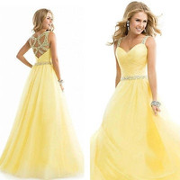 New Long Formal Prom Dress Party Ball Gown Dress Yellow = 1946443972