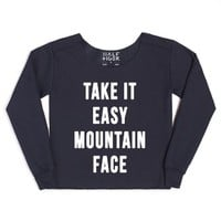 Take it Easy Mountain Face (Hot Rod)-Female Navy Hoodie