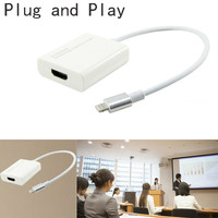 Plug and Play for Lightning to HDMI HD TV Projector Adapter Cable Cord for iPhone 7 6S 6 Plus 5 5S SE iPad Pro Air Mini